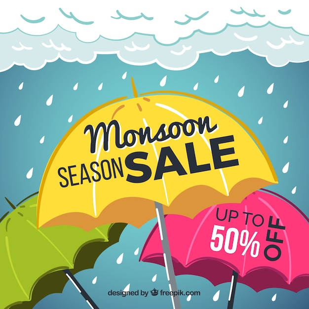 Hand drawn monsoon season sale\ composition