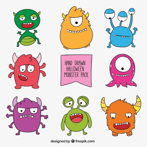 Hand drawn monster collection Free Vector