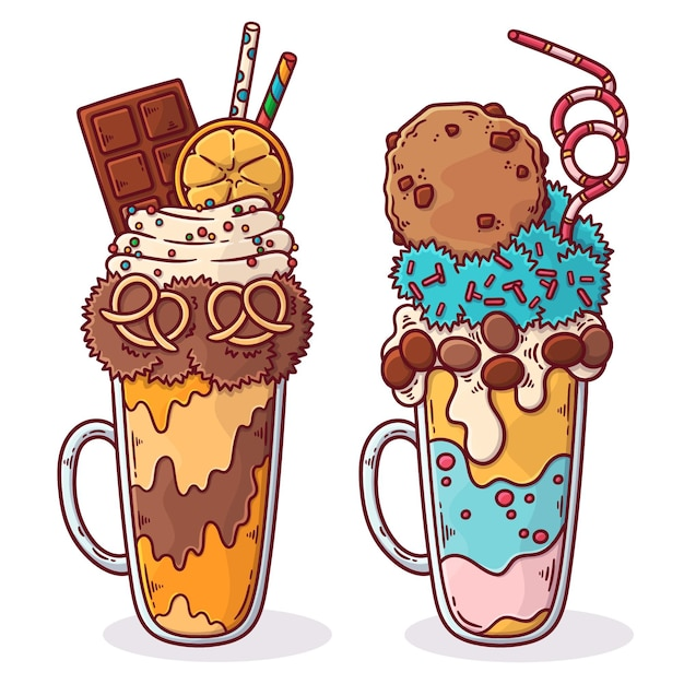 Hand drawn monster shakes collection Free Vector