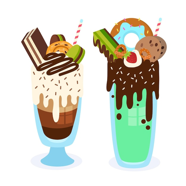 Hand drawn monster shakes Free Vector