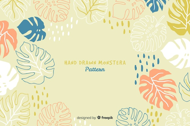 Hand drawn monstera background Premium Vector