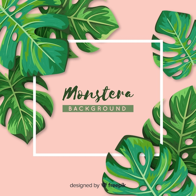 Hand drawn monstera leaves frame background Premium Vector