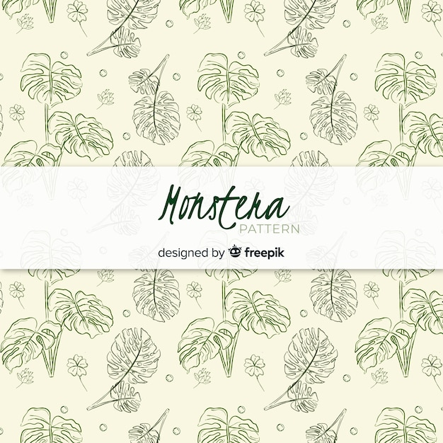 Hand drawn monstera leaves pattern Free Vector