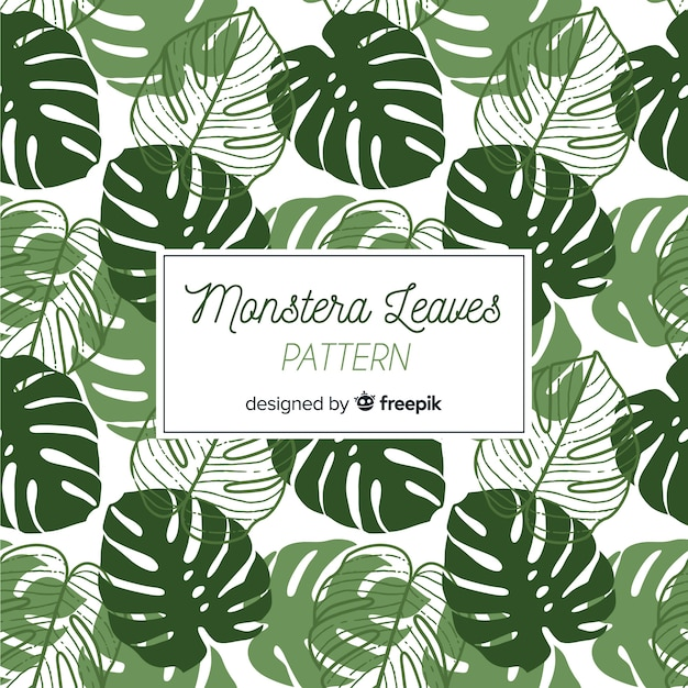 Hand drawn monstera leaves pattern Premium Vector