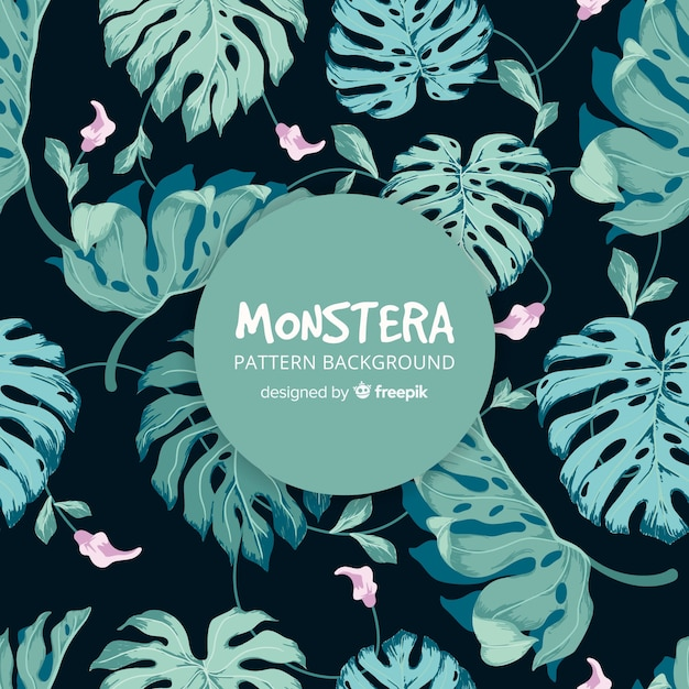 Hand drawn monstera pattern Free Vector