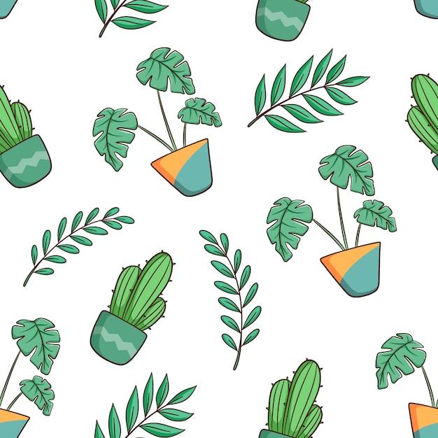 Рисованной монстера растений и кактусов бесшовный фон Premium векторы