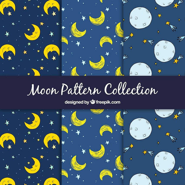 Hand drawn moon and stars patterns Free Vector