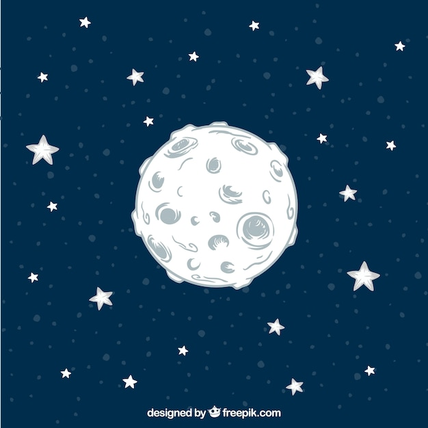 Hand drawn moon background with stars Free Vector