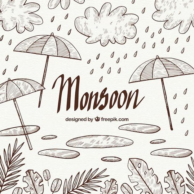 Hand drawn mosoon season composition