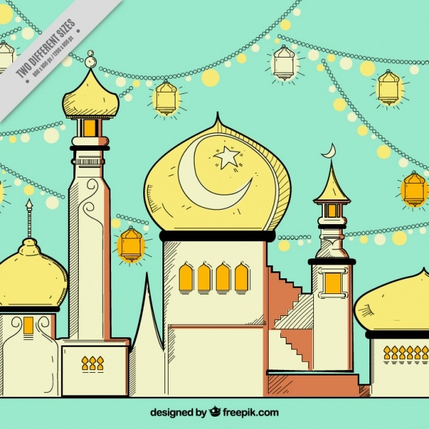 Hand drawn mosque background Free Vector