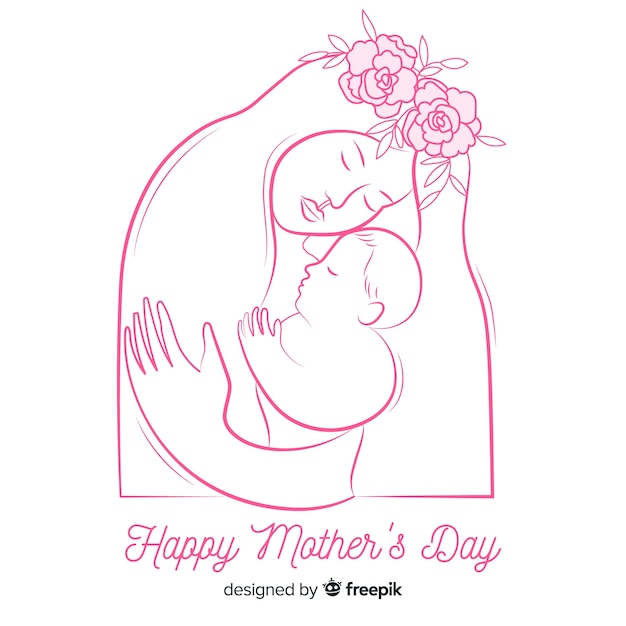 Hand drawn mother and baby mother's day background Free Vector