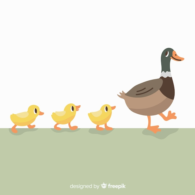 Hand drawn mother duck and ducklings on grass Free Vector