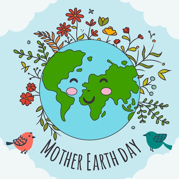 Hand-drawn mother earth banner concept Free Vector