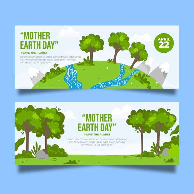 Hand-drawn mother earth banner theme Free Vector