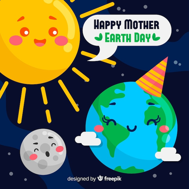 Hand drawn mother earth day background Free Vector