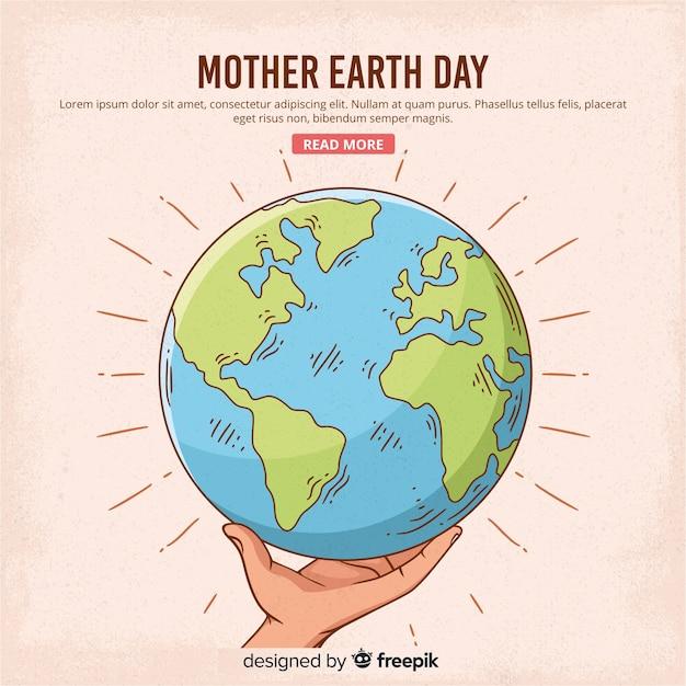 手描きの母なる地球日の背景 Premiumベクター