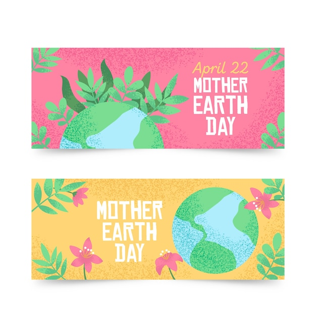 Hand-drawn mother earth day banner collection concept Free Vector