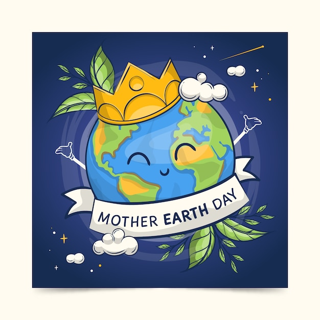 Hand-drawn mother earth day banner collection design Free Vector