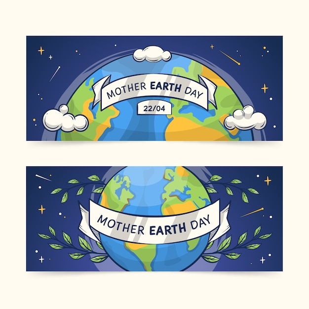 Hand-drawn mother earth day banner collection theme Free Vector