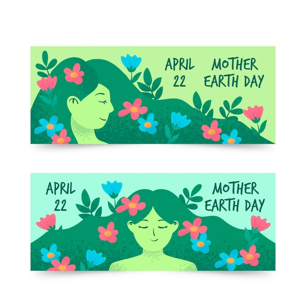 Hand-drawn mother earth day banner collection Free Vector