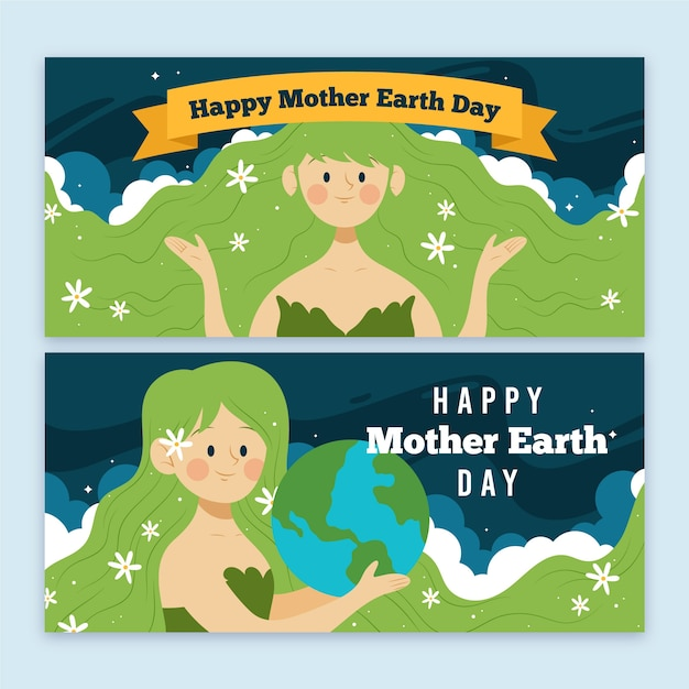Hand-drawn mother earth day banner design Free Vector