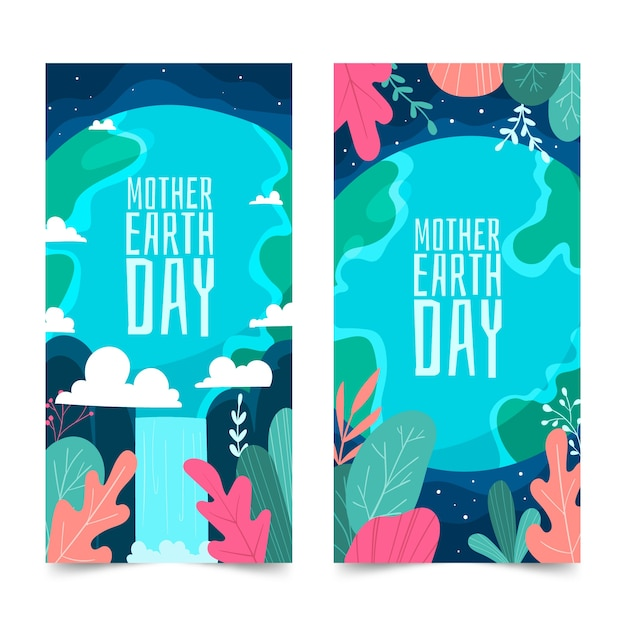 Hand drawn mother earth day banner set Free Vector