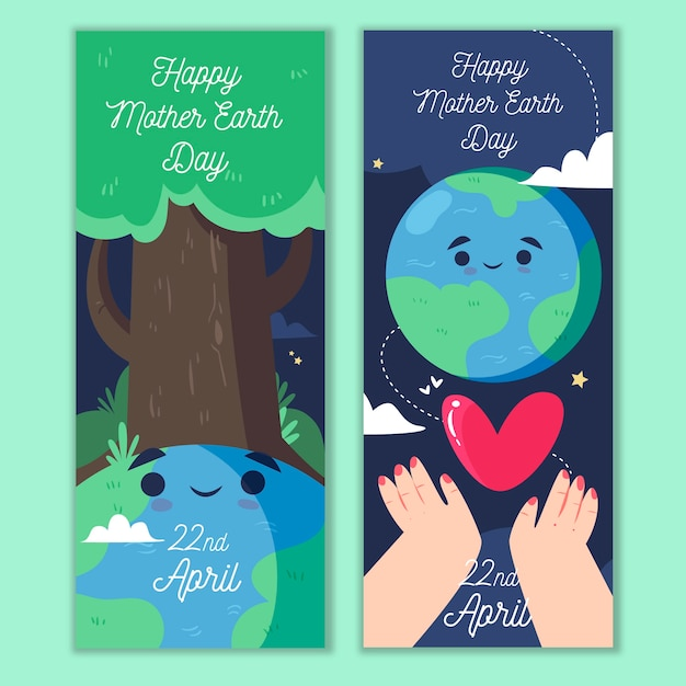 Hand-drawn mother earth day banner theme Free Vector