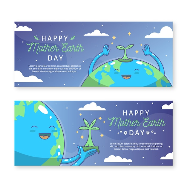 Hand drawn mother earth day banner with happy planet Free Vector