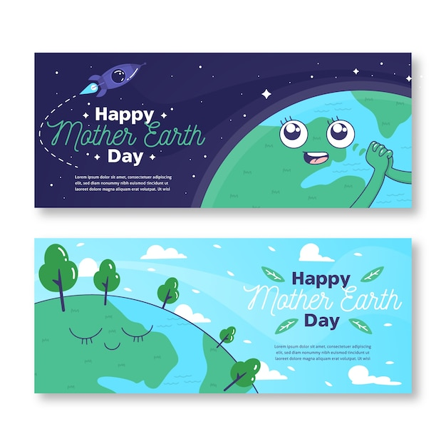 Hand drawn mother earth day banner with planet looking at spaceship Free Vector
