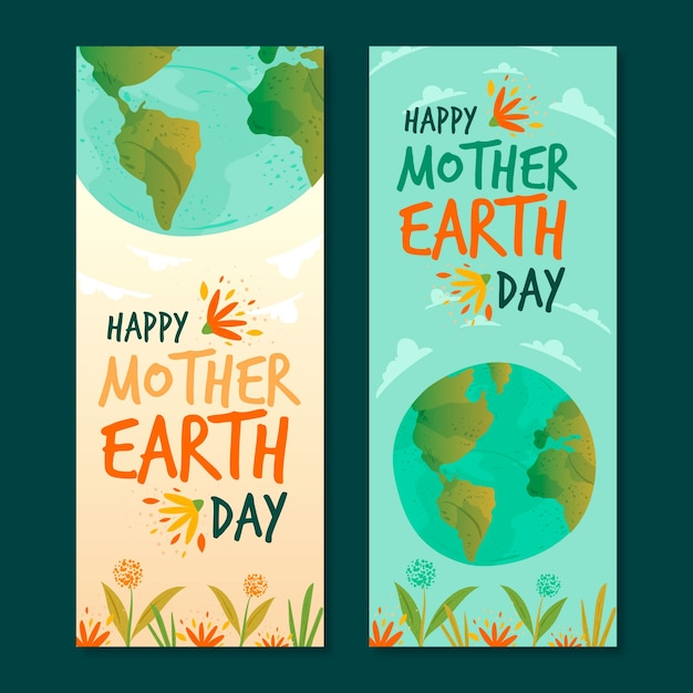 Hand drawn mother earth day banner Free Vector