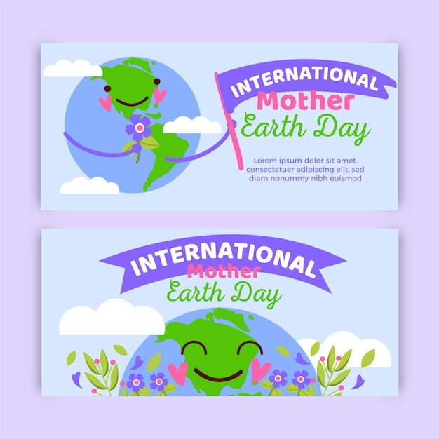Hand-drawn mother earth day banner Free Vector