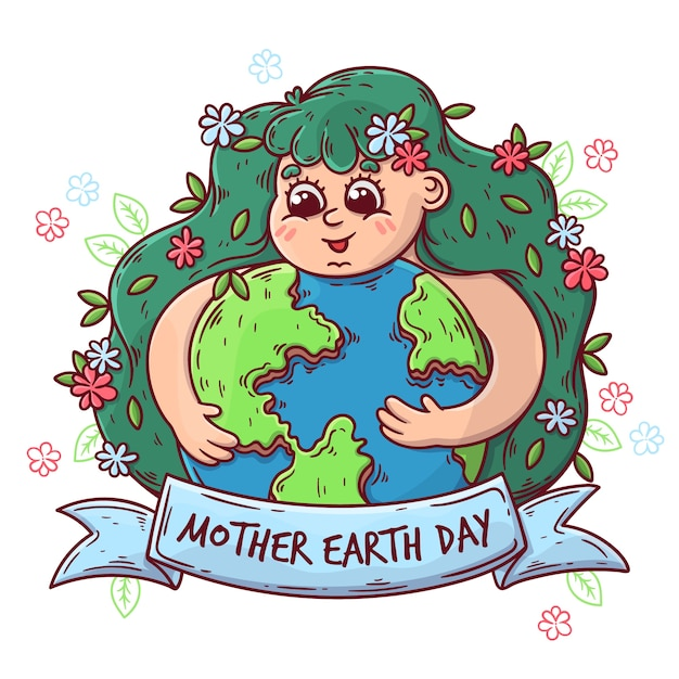 Hand-drawn mother earth day celebration Free Vector