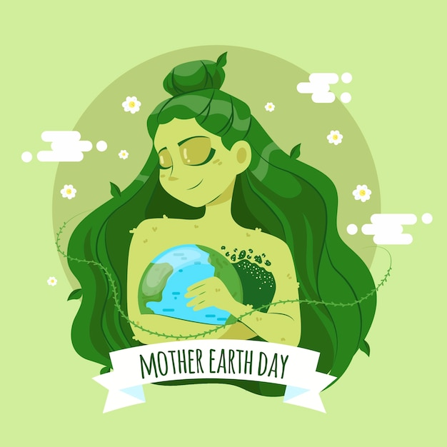 Hand-drawn mother earth day event concept Free Vector