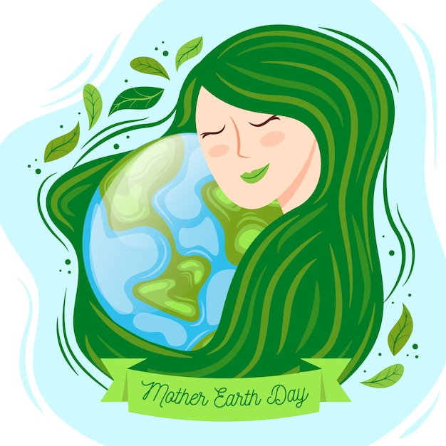 Hand-drawn mother earth day event design Free Vector