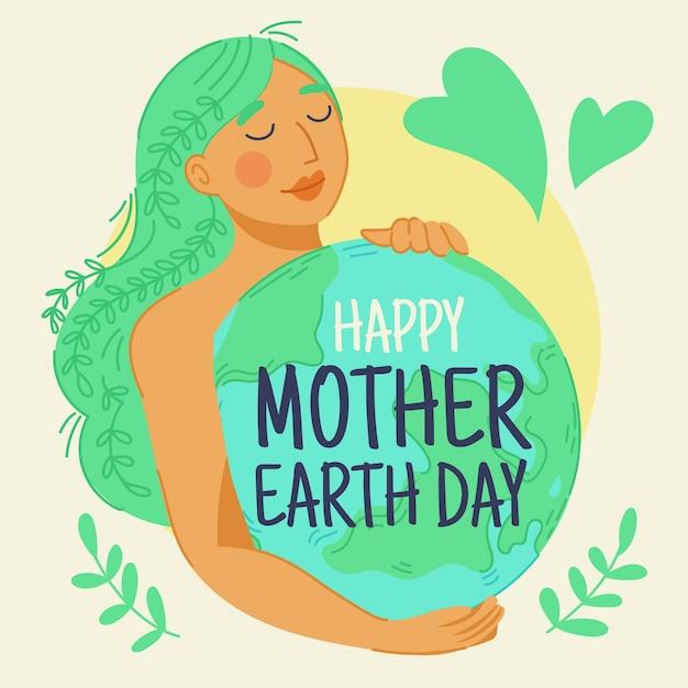 手描きの母なる地球の壁紙 無料ベクター
