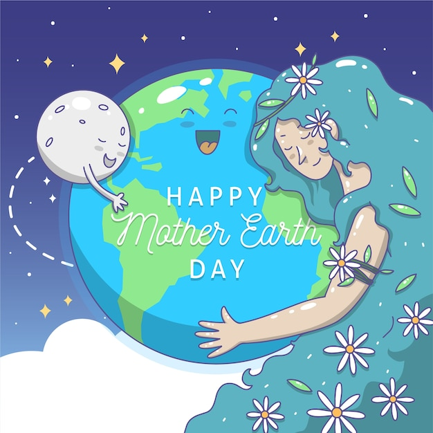 Hand drawn mother earth moon and woman hugging the planet Free Vector