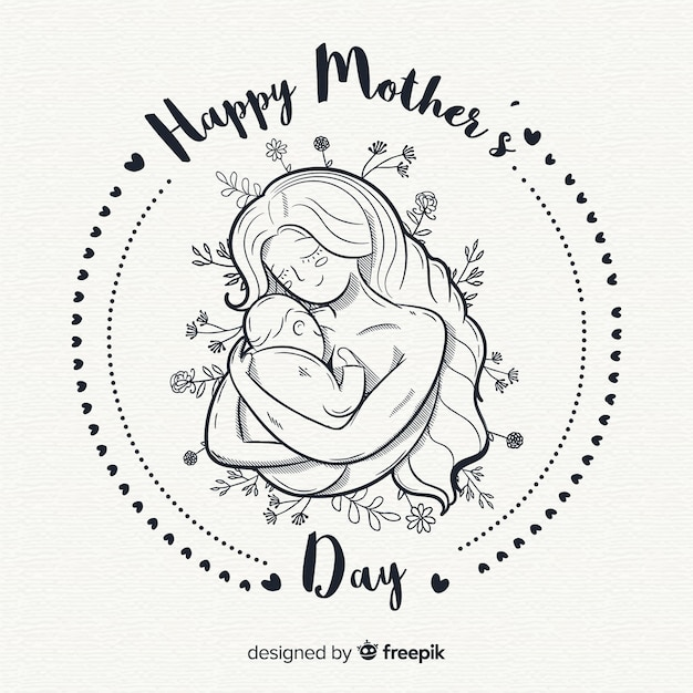 Hand drawn mother's day background Free Vector