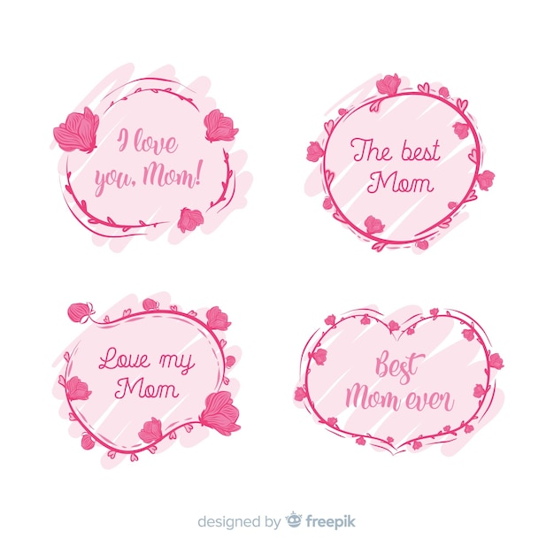 Hand drawn mother's day badge collection Free Vector