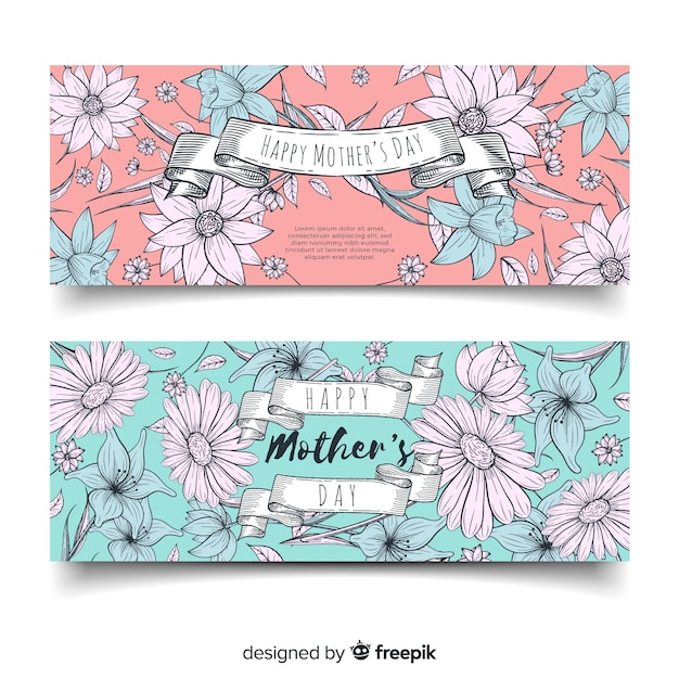 Hand drawn mother's day banners Free Vector