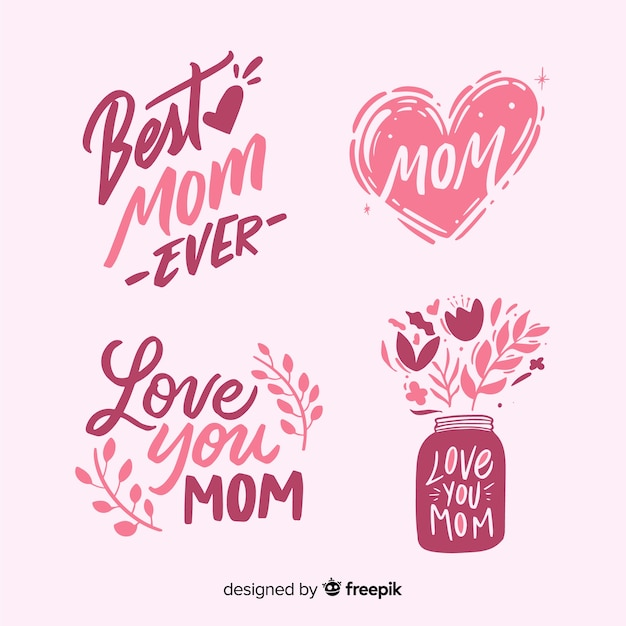 Hand drawn mother's day label collection Free Vector