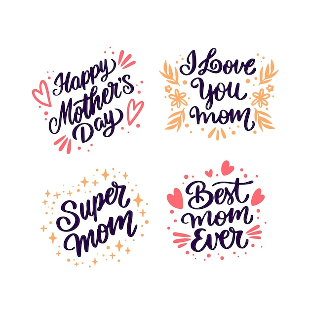 Hand drawn mother's day lettering badges Free Vector
