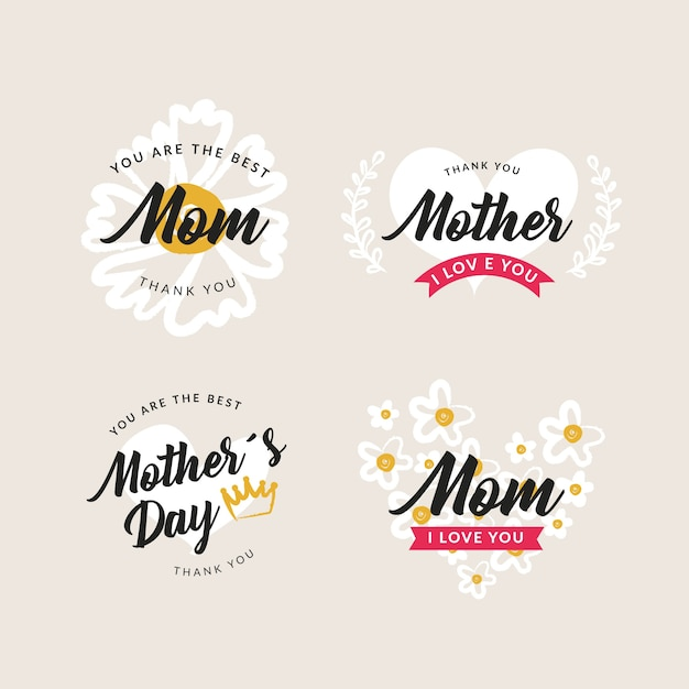 Hand-drawn mothers day label collection Free Vector