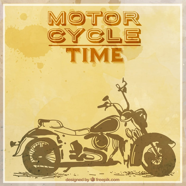 Hand drawn motorcycle vintage background