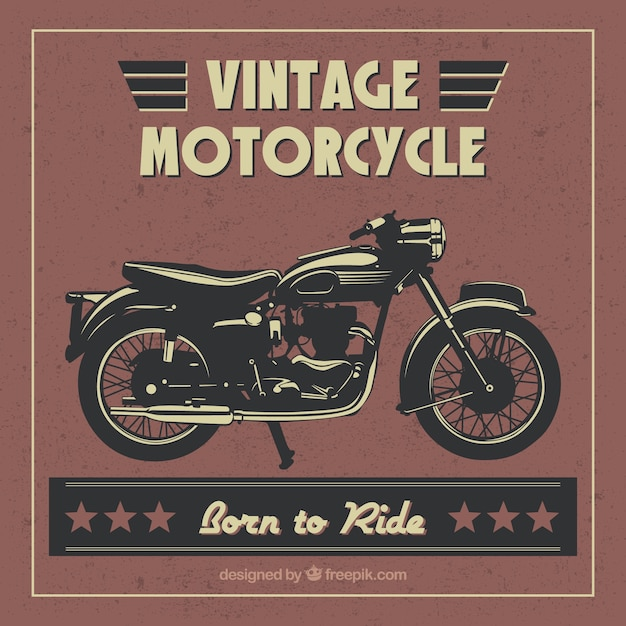 Hand-drawn motorcycle vintage background