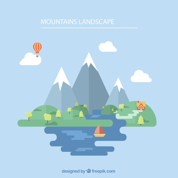 Hand drawn mountain landscape background