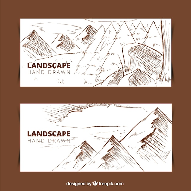 Hand drawn mountain landscape banners