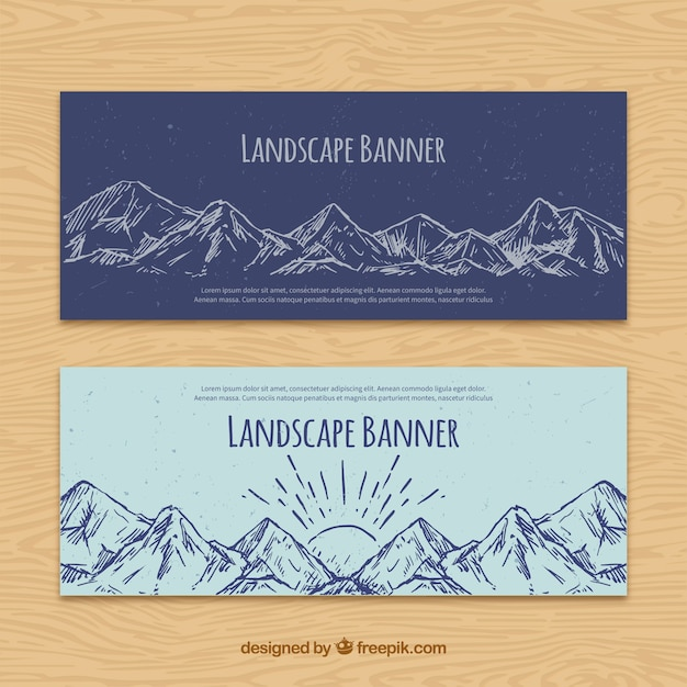 Hand drawn mountains banners Free Vector