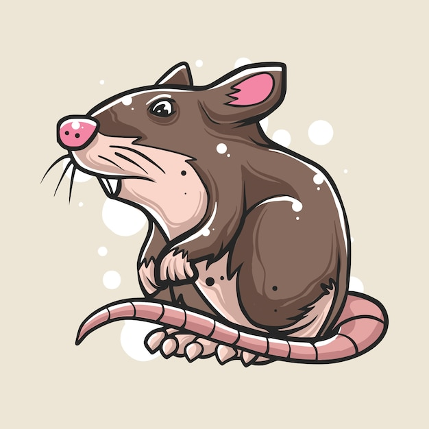Hand drawn of mouse illustration Premium Vector