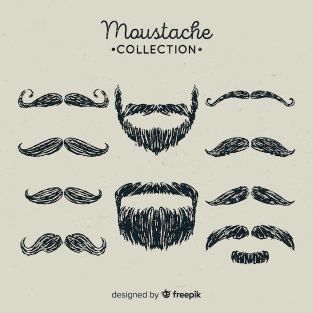 Hand drawn movember mustache collection in different shapes Free Vector