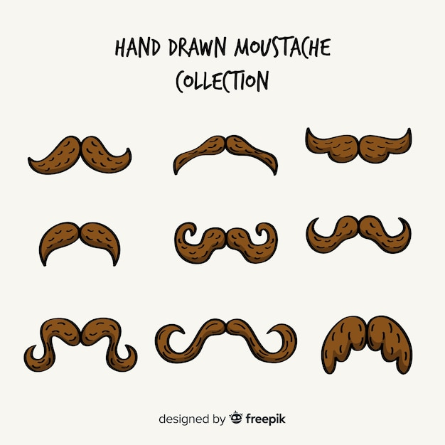 Hand drawn movember mustache collection Free Vector